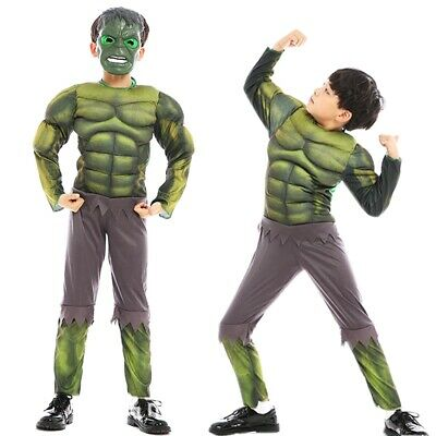 Hulk Halloween (Avengers Hulk Muscle Mask Costume Boys Kids Incredible Halloween Party)