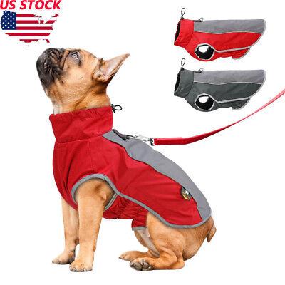 USA Reflective Fleece warm pet DOG Coat Winter Jacket Clothes Sweater Waterproof