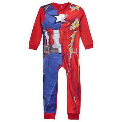 Marvel Captain America Pyjama Schlafanzug kinder Nachtwäsche Overall NEU