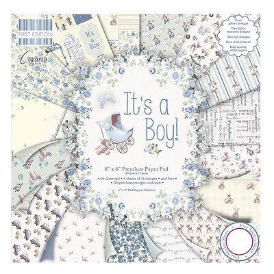 64 Scrapbooking Papier 15,2x15,2 cm  Motive Its a boy Baby Geburt Junge