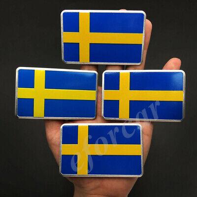 4x Aluminum Sweden Flag Car Emblem Badge Volvo Saab Motorcycle Fuel Tank Sticker for sale  China
