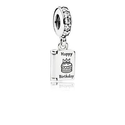 New Pandora Dangle Happy Birthday Wishes Charm Sterling Silver 791723Cz W  Pouch