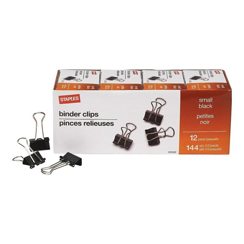 """Staples Small Metal Binder Clips Bulk PK Black 3/4"""" Size with 3/8"""" Capacity"""
