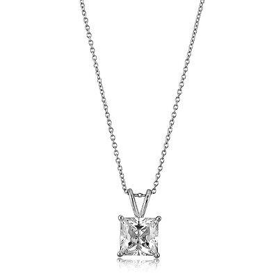 BERRICLE Sterling Silver Princess Cut CZ Solitaire Pendant Necklace 3.01 Carat