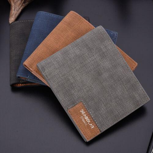 Mens Leather Slim Bifold Credit ID Card Holder Wallet Billfold Purse Clutch LI