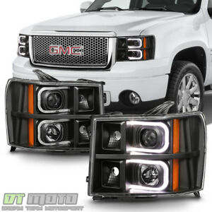 Blk 2007-2013 GMC Sierra 1500 2500 3500 LED OPTIC Projector Headlights Headlamps