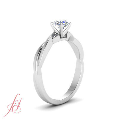 Half Carat Round Cut Diamond Delicate Braided SI1 Engagement Ring For Women GIA 2