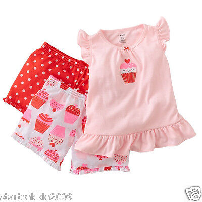 Carter's Infant Girl Red Cupcake 3-Piece PJs Set. Size 18 Months. NWT