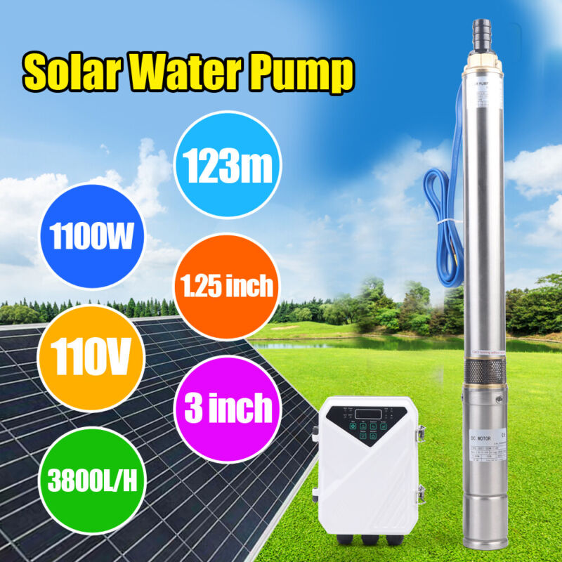 """3"""" 110V 1.5HP DC Deep Bore Well Solar Water Pump Submersible MPPT Controller Kit"""