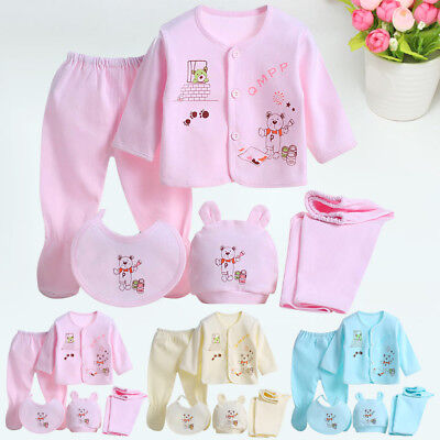 0-3 Month Newborn Baby Layette Set Boys Girls Cotton Sleepwear Outfit Clothes
