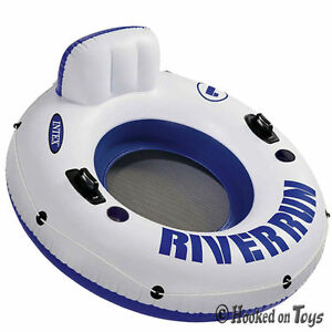 Intex-One-River-Run-I-Inflatable-Tube-1-Person-Rider-Blue-amp-White-Float-58825