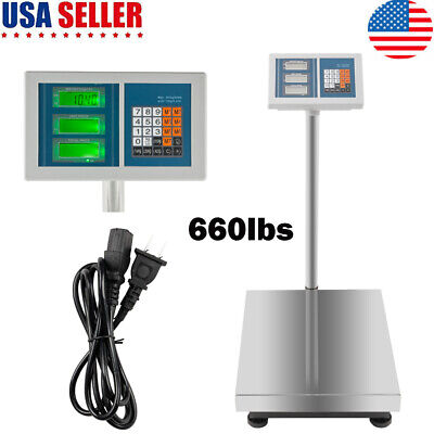 660lbs Led Weight Computing Digital Floor Platform Scale Postal Shipping Mailing