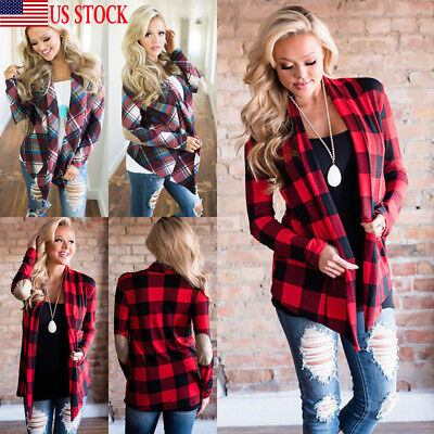 - Womens Long Sleeve Flannel Plaid Shirts Cardigan Blouse Casual Jacket Loose Tops