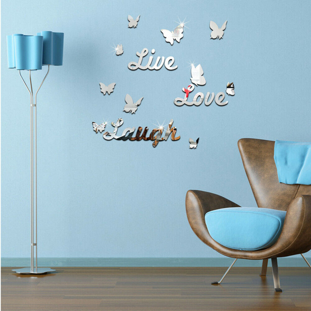 Home Decoration - 3D Removable Mirror Wall Sticker Love Butterfly Wall Decals Romantic Home Decor