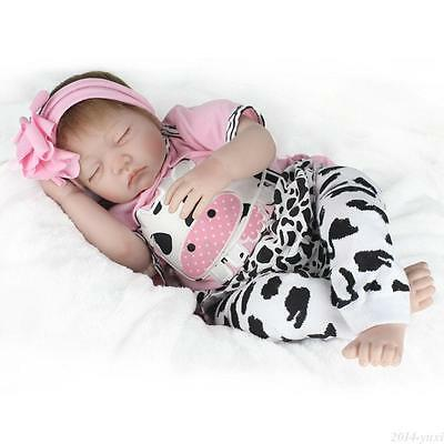 Handmade Reborn Baby Dolls Sleeping Newborn Lifelike Vinyl Silicone Girl Doll