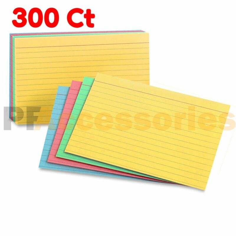 """300 Ct Ruled Front Blank Back Color Index Card Note Cards 3x5"""" inch Pack of 300"""