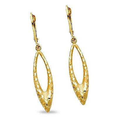 Long Drop Dangle Earrings Solid 14k Yellow Gold Diamond Cut Leverback Polished