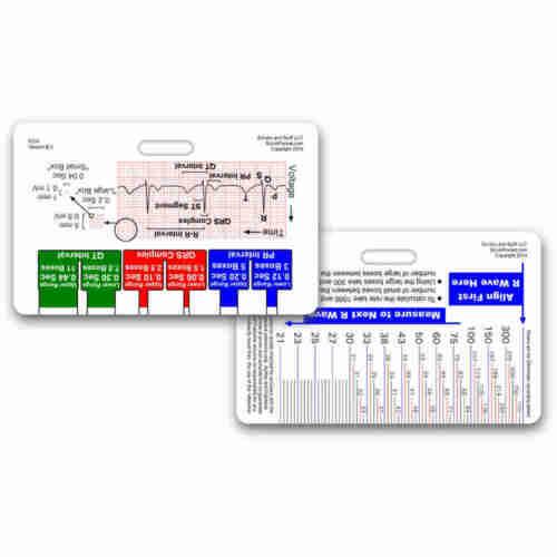 EKG Ruler Horizontal Badge ID Card Reference Pocket Guide RN Nurse Paramedic ECG
