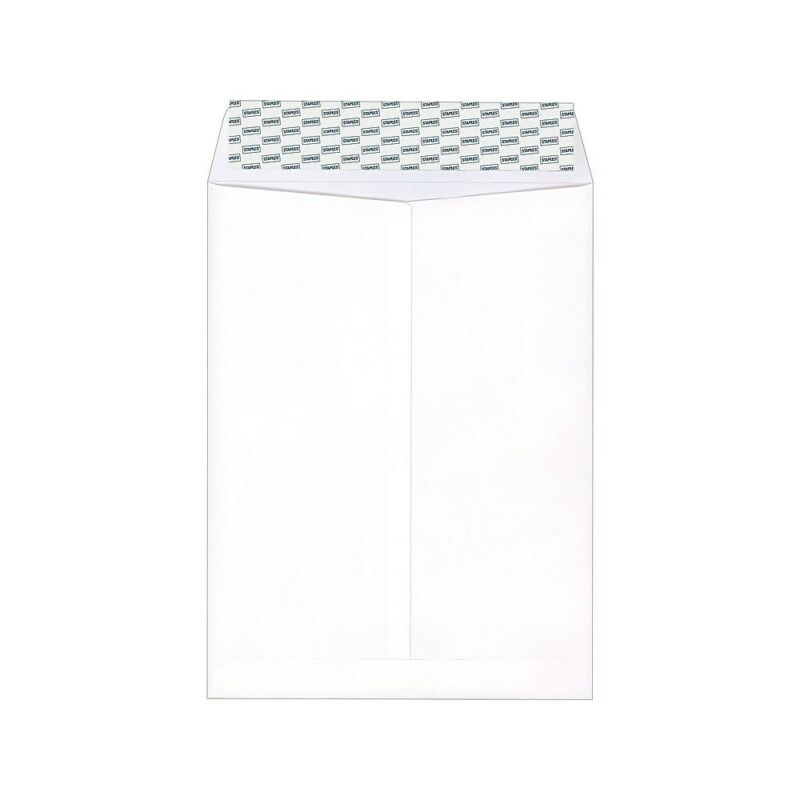 "Staples EasyClose Catalog Envelopes 9"" x 12"" White Wove 250/Box 479885"