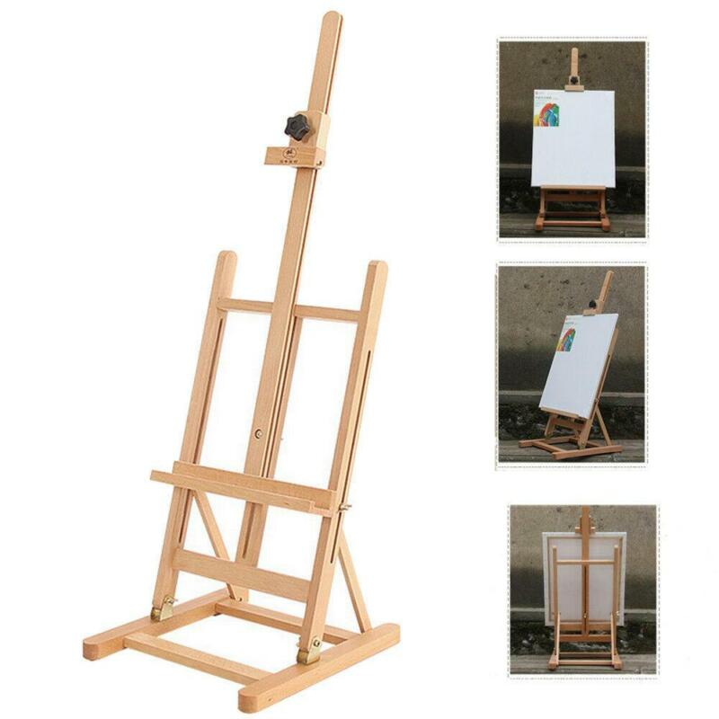 Standing Artist Beech Metal Wood Easel Table Top Adjustable Art Painting H-Frame