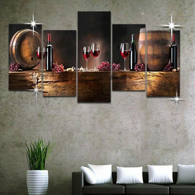 5Pcs Red Wine Grapes Barrel Poster Canvas Print Painting Wall Art Home - Canvas Art Poster