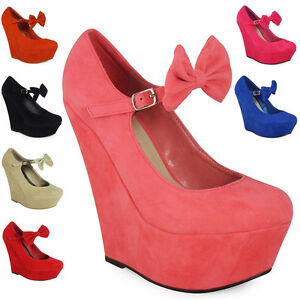 NEW-WOMENS-LADIES-MARY-JANE-BOW-SUEDE-PLATFORM-HIGH-WEDGE-SHOES-SIZE-3-4-5-6-7-8