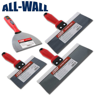 4-piece Wal-board Blue Steel Drywall Taping Knife Set 6- 8-10-12 Soft Grip