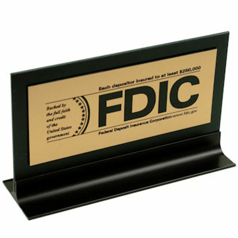 FDIC $250000 Counter Sign - Gold w/Black Text & frame/stand