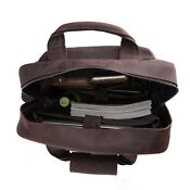 """Retro Full Grain Leather Backpack Men Travel 17"""" Laptop Satchel Daypack Book Ba"""