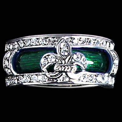 Enamel Ring Insert (*Fleur de Lis*_RING SET_CZ RING JACKET w/ GREEN ENAMEL INSERT_SZ-12__925)