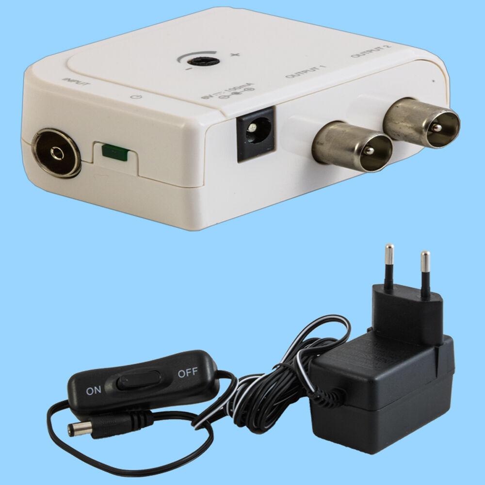 Zweigeräteverstärker 2-fach Antennenverstärker Kabelfernsehen HDTV Unitymedia 4K