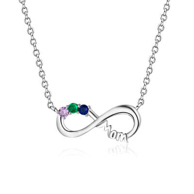 Personalized Birthstone Necklace Infinity Mom Mother Sterling Silver Family -