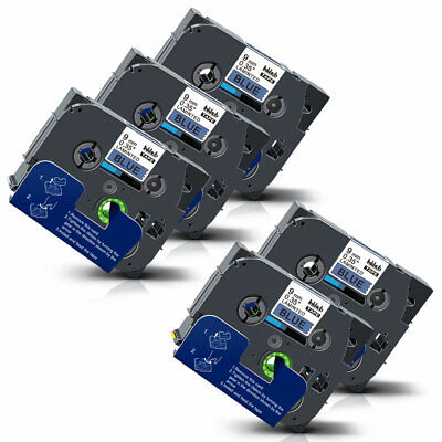5x Tze-521 9mm Compatible Label Maker Tape For Brother P-touch D210 D400 H105