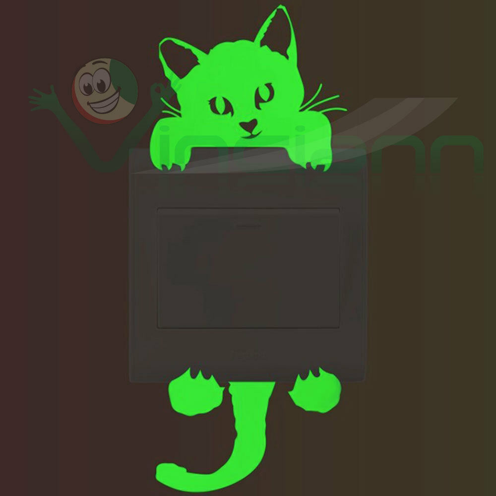 Sticker adesivo luminoso fluorescente Pry Cat interruttore luce parete gatto
