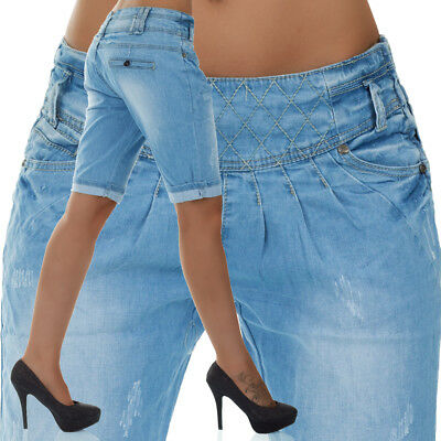 simpatica Damen Chino Jeans Capri Kurze Hose Hüfthose Bermuda