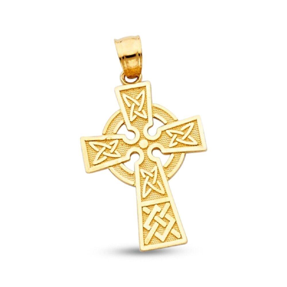 14K Yellow Gold Celtic Cross Claddagh Pendant Charm
