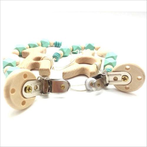 1Set Schnuller Kette Tiere Holz Molarenstock Sicherheit Perlen Baby Spielzeug