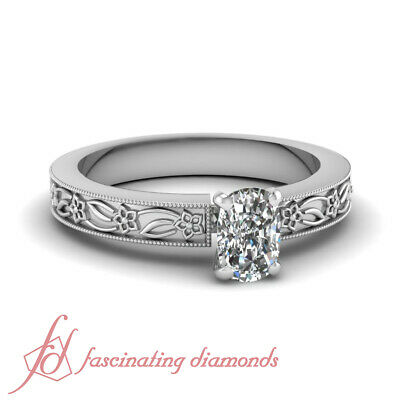 .75 Ct Cushion Cut Vintage Solitaire Diamond Rings For Women Engagement SI2 GIA