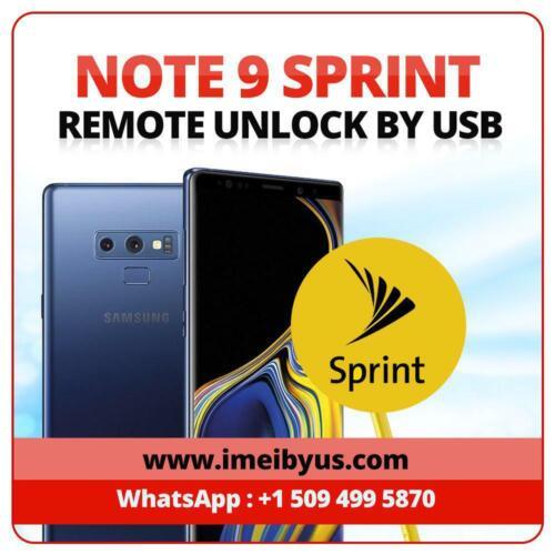 INSTANT! Samsung Galaxy Note 9 SPRINT/T-Mobile Remote Unlock Service
