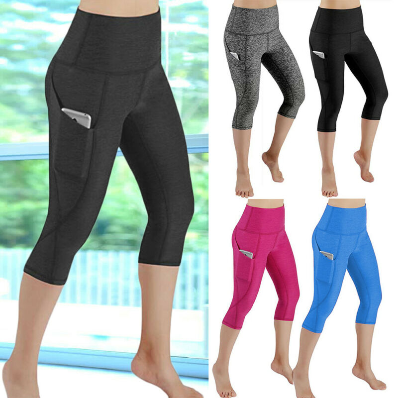 Women High Waist Yoga Leggings Pocket Pants Fitness Sport Gym Workout Athletic G 11