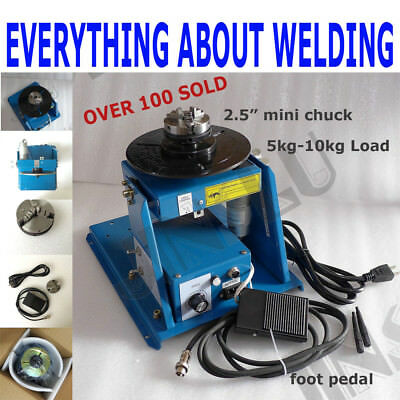 110v Rotary Welding Positioner Turntable Table Mini 2.5 3 Jaw Lathe Chuck