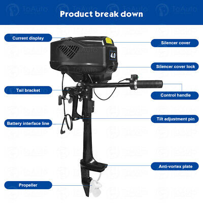 1kw 4hp Electric Boat Motor Heavy Duty Outboard Trolling Motor Engine 15kmh