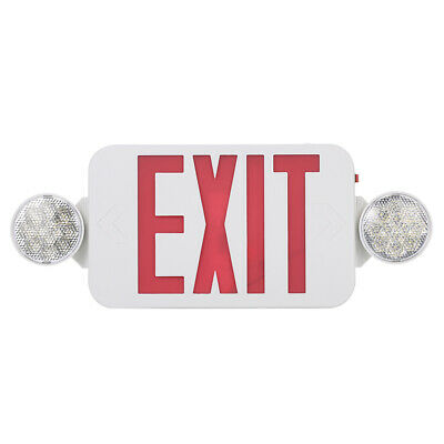 Led Exit Sign Emergency Light High Output - Red Compact Combo Ul Lamp F5z2