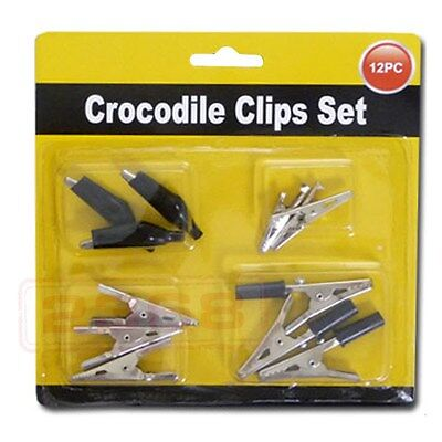 12pc Strong Spring Crocodile Clips Set (Comes in Assorted Sizes)