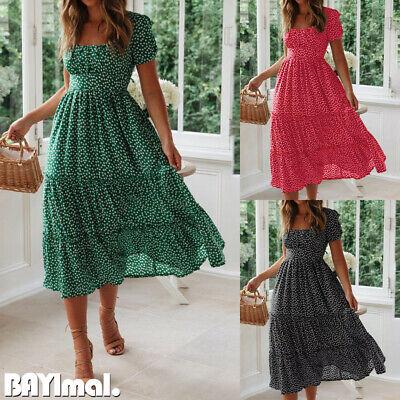 Women Floral Short Sleeve Midi Dress Ladies Casual Holiday Boho Swing Dresses UK