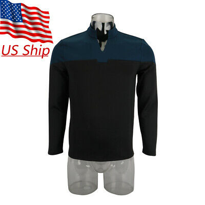 Top Costumes (2019 Star Trek Picard Startfleet Uniform Cosplay Science Blue Top Shirt)