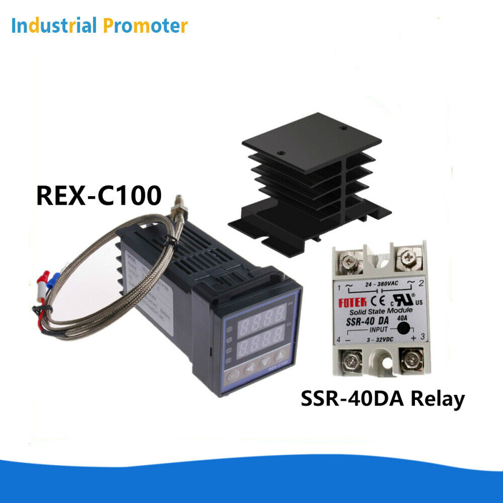 PID Temperature Control REX-C100 40A SSR with K Thermocouple /& Probe Heat Sink