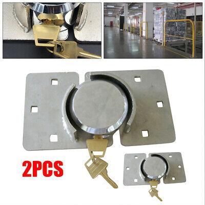 2 Pack Door Security Shackle Padlock Heavy Duty Steel For Van Garage Shed Usa