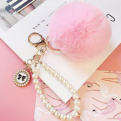 HOT Soft Pendant Charm Ball Chic Key Ring Handbag Pom Key Chain Rabbit Fur