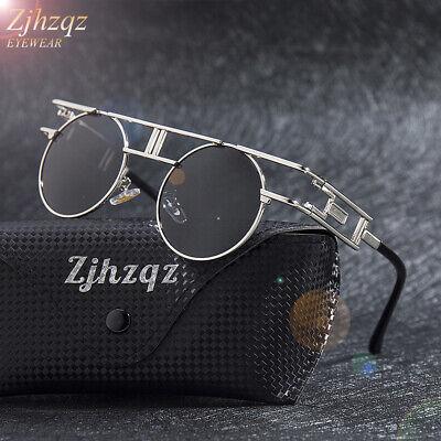 Vintage Polarized Steampunk Sunglasses Men Fashion Round Retro Pilot Eyewear New